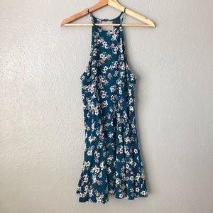 ☀️Forever 21 Blue Floral Halter Open Back Dress
